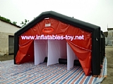 Inflatable outdoor shower tent decontamination