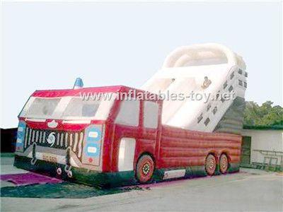 Inflatable fire truck slide,CLI-1029