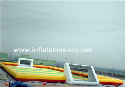 Inflatable football playground for bumper ball race ,SPO-124